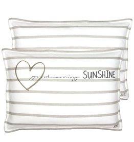 Bastion Collections Cushion Goodmorning Sunshine White/Naturel Stripe