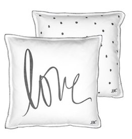 Bastion Collections Cushion White/Love in Black & black dots