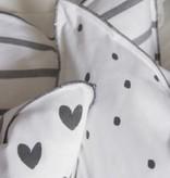 Bastion Collections Cushion Love you Darkgrey Stripe/Little hearts black