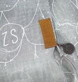 Zusss Driehoeksjaal met print krijt-grijs, 70x210cm