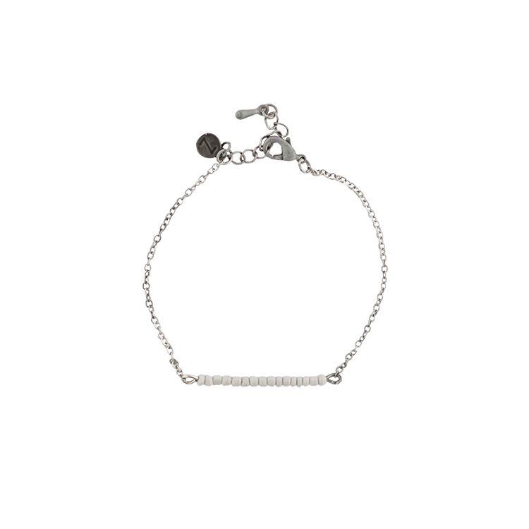 Zusss fijne armband oud zilver met grijze kraaltjes 18,5cm