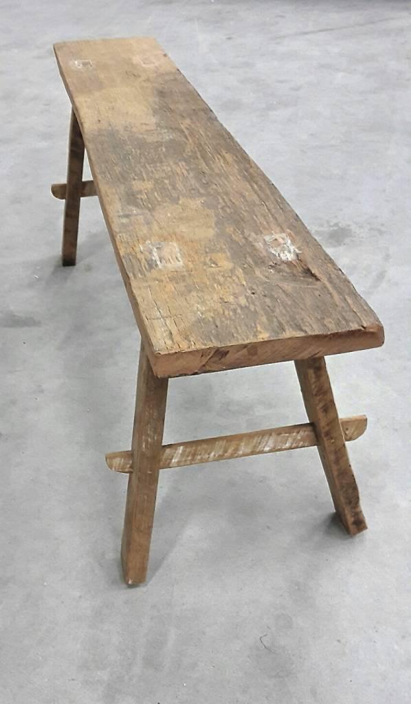 Oud bankje / bijzettafeltje 106cm, bruin