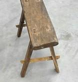 Oud bankje / krukje 58cm, bruin