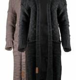 Zusss Stoer grof gebreid vest off black