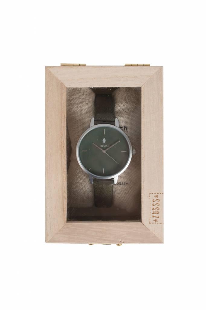 Zusss Hip horloge mat zilver - groen