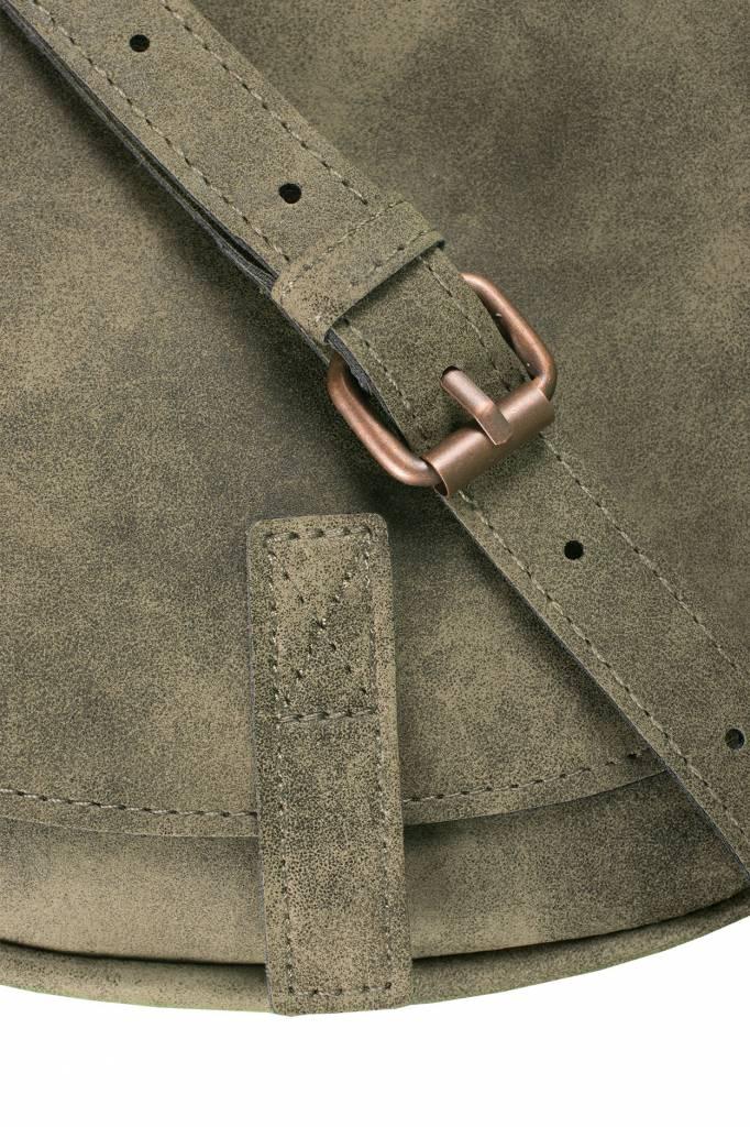 Zusss Ronde hippe schoudertas S 19x18x5cm, groen