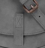 Zusss Ronde hippe schoudertas S 19x18x5cm, steengrijs