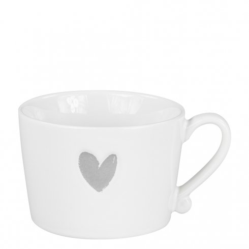 Bastion Collections Mug White/Heart in Grey