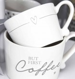 Bastion Collections Mug Small White/Line heart in Grey