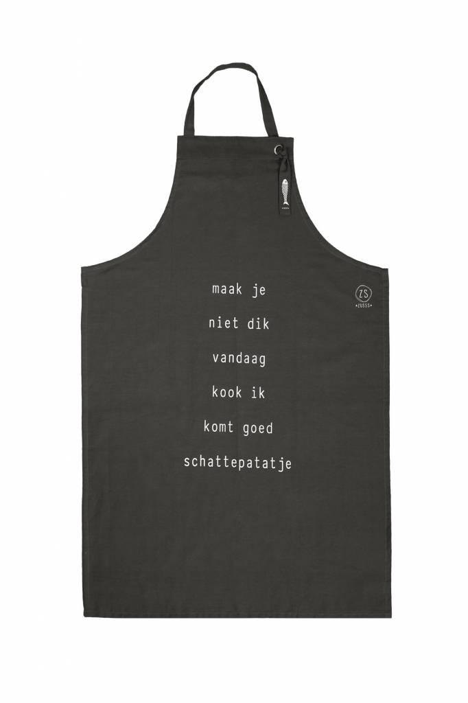 Zusss keukenschort 72x109, 'maak je niet dik' antracietgrijs