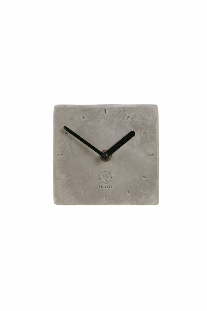Zusss klok beton vierkant, 12x12x4cm