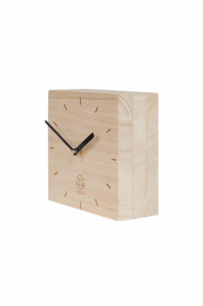 Zusss klok hout vierkant, 15x15x6cm