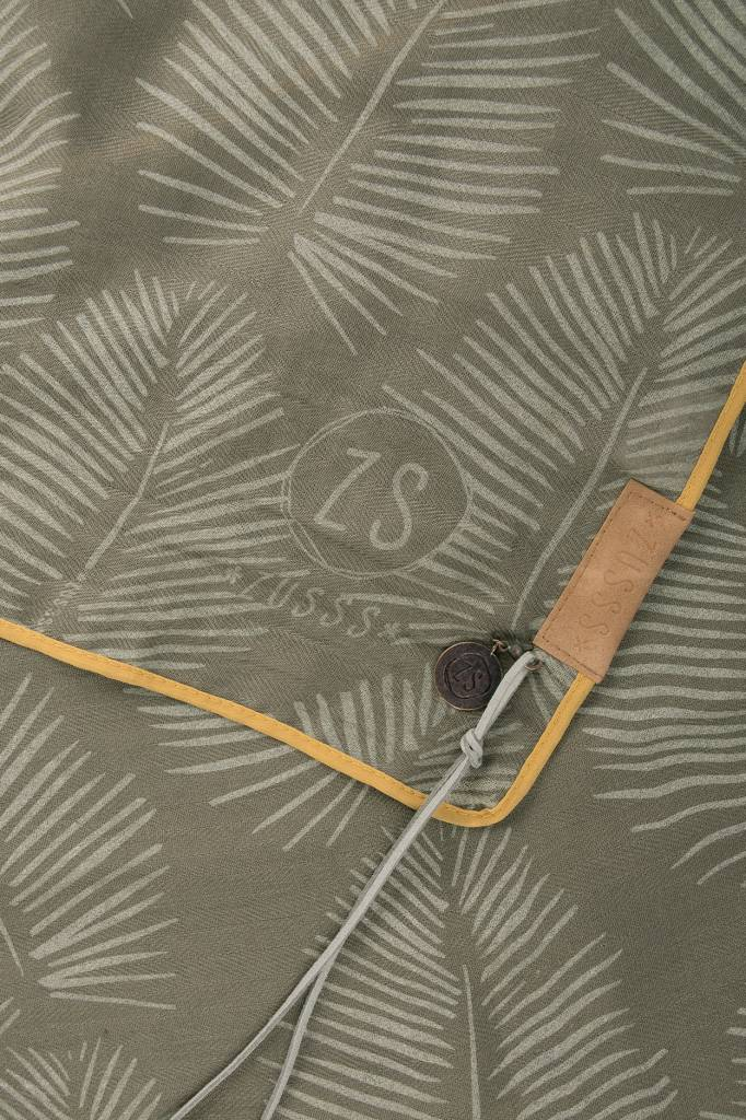 Zusss Sjaal met blad leemgroen, 95x180cm