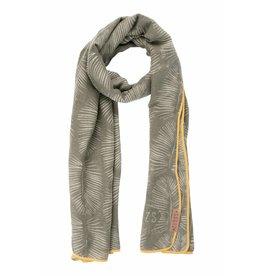 Zusss Sjaal met blad leemgroen