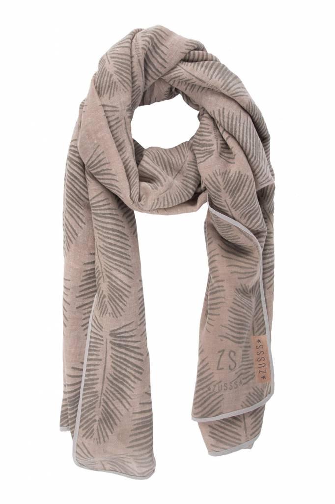Zusss Sjaal met blad poederroze, 95x180cm