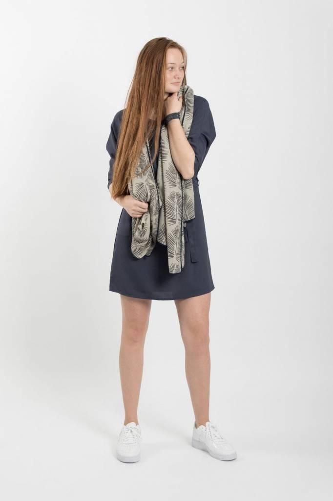 Zusss Sjiek jurkje met centuur nachtblauw L/XL