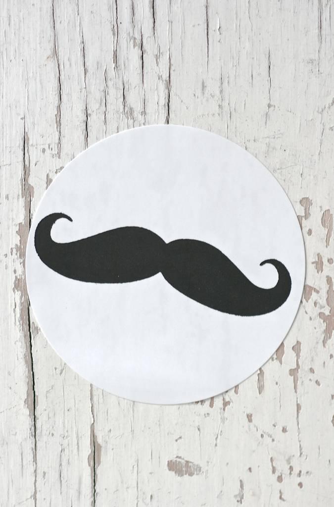 Ronde sticker 'mustage' zwart/wit, 10st