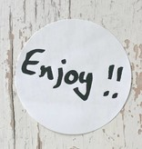 Ronde sticker 'enjoy!!' zwart/wit, 10st