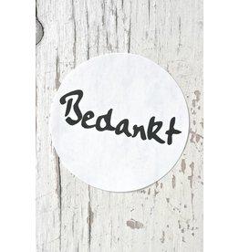 Ronde sticker 'bedankt' zwart/wit, 10st