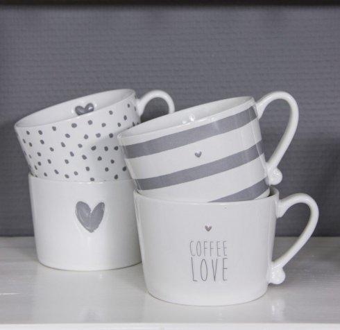 Bastion Collections Mug White/Coffee Love Grey little heart Titane