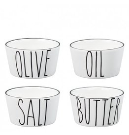 Bastion Collections Bowl Ass (4) Salt, butter, oil and olive in black