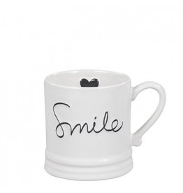 Bastion Collections Mug Small White/Smile in Black