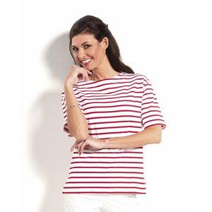 Modas Bretonse streepshirt voor dames met korte mouwen in 13 kleurcombinaties