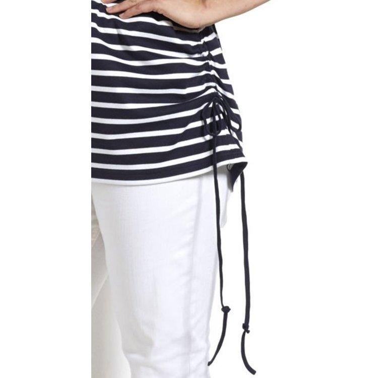 H-25703 Bretonse streep Damesshirt met korte mouwen