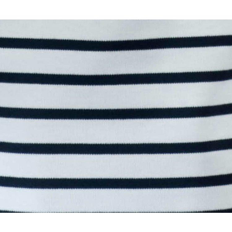 Modas Bretonse streep poloshirt voor dames met korte mouwen in 7 kleurcombinaties