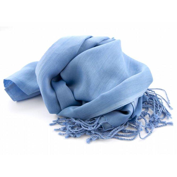 Pashmina sjaal Katoen/zijde - Middenblauw
