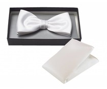 Strik met pochet polyester-satijn Wit