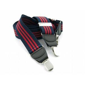 Bretels elastiek 35mm Donkerblauw-Rood Streep