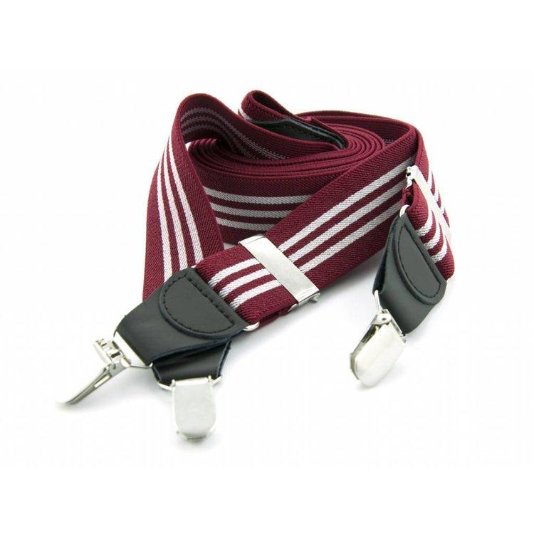 Bretels elastiek 35mm Bordeau - Wit gestreept