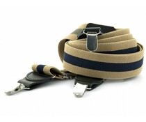 Bretels elastiek 35mm Beige-Donkerblauw Streep