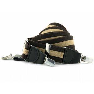 Bretels elastiek 35mm Bruin-Beige Streep