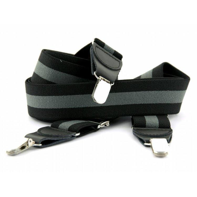 Bretels elastiek 35mm Zwart-Grijs gestreept