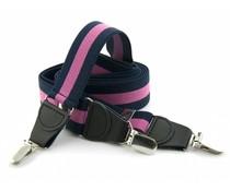 Bretels elastiek 35mm Donkerblauw-Fuchsia Streep