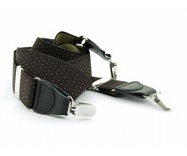 Bretels elastiek 35mm Bruin met Khaki stippen