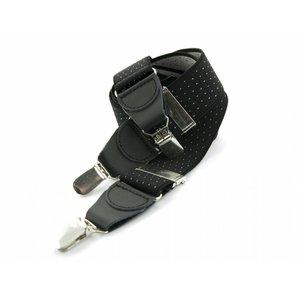 Bretels elastiek 35mm Zwart met Witte stippen