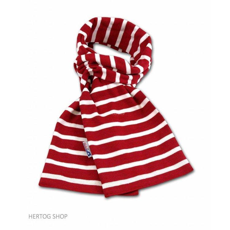 Modas Bretonse sjaal ca. 15x140 cm in Rood met witte streep