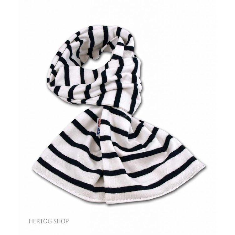 Modas Bretonse sjaal in Wit met donkerblauwe streep