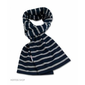 Modas Bretonse streepsjaal Marineblauw-grijs melange