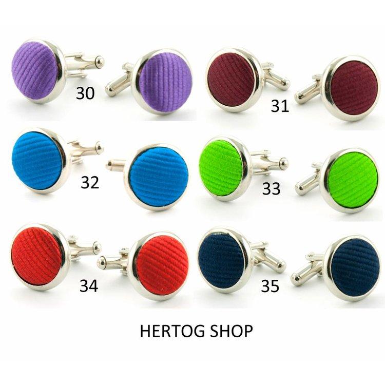 Luxe manchetknopen met zijde, in 37 kleuren verkrijgbaar