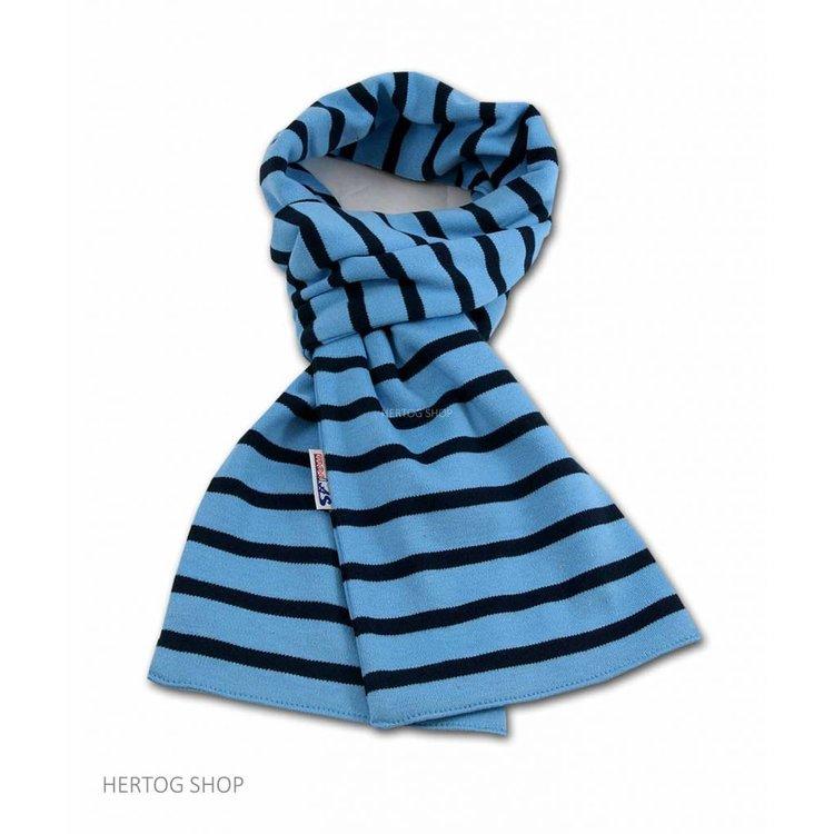 Modas Bretonse sjaal ca. 15x140 cm in Middenblauw met donkerblauwe streep