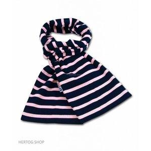 Modas Bretonse streepsjaal Marineblauw-roze