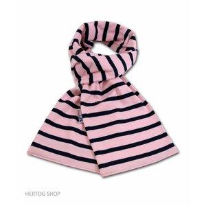 Modas Bretonse streepsjaal Roze-marineblauw