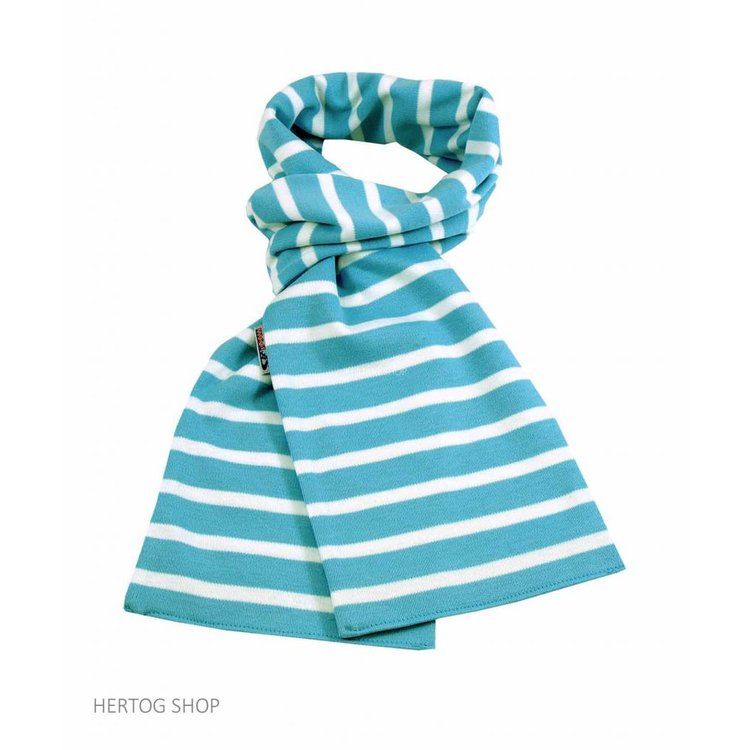 Modas Bretonse sjaal ca. 15x140 cm in Aqua met witte streep