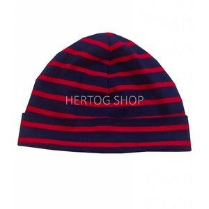 Bretonse streep-muts  Marineblauw-rood