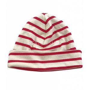 Bretonse streep-muts  Ecru-rood