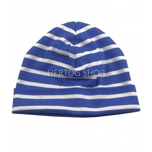 Bretonse streep-muts in Kobaltblauw met witte strepen